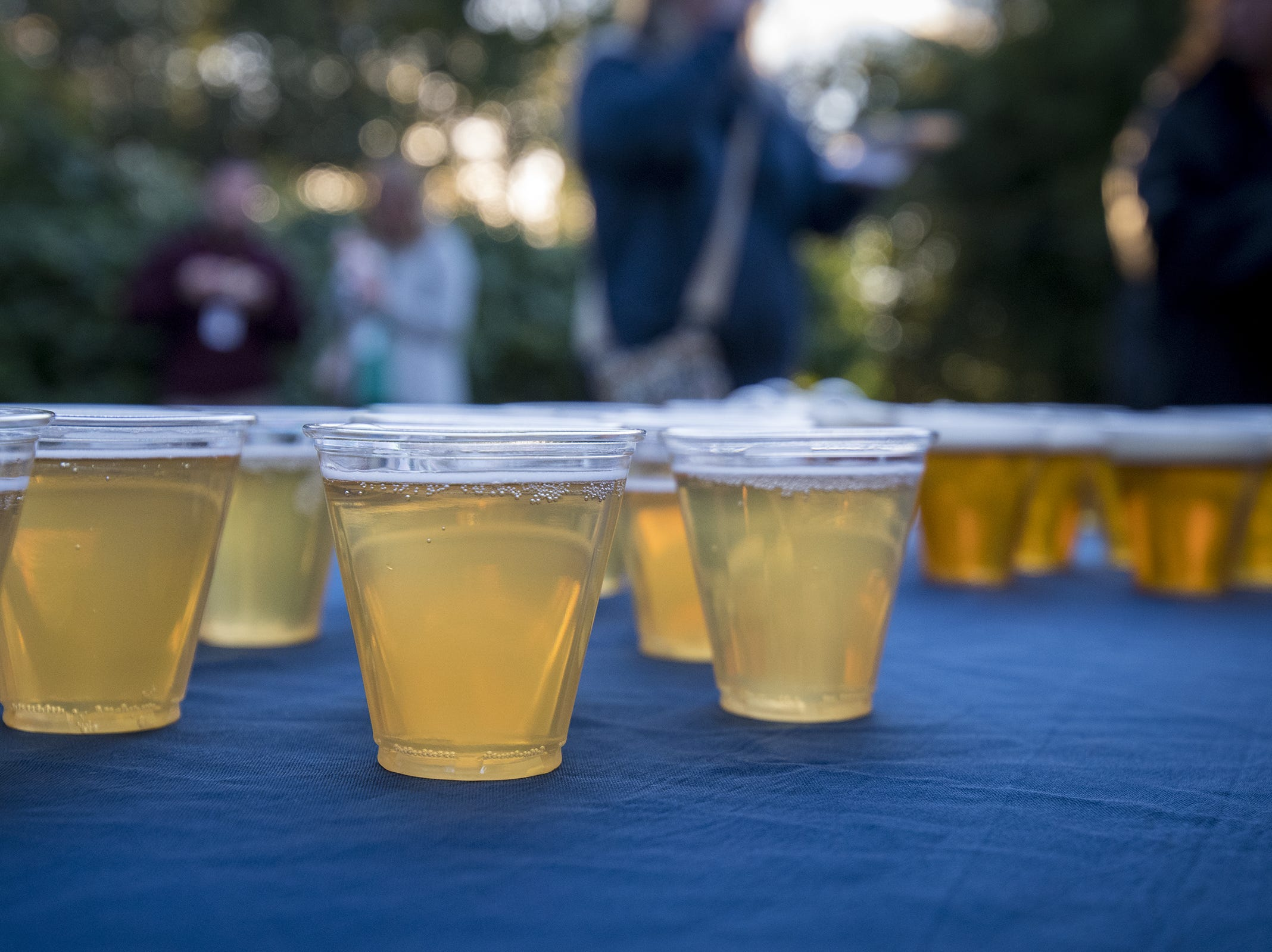 Cups of Rhinegeist beer is set out for guests to sample during Zoo Brew.