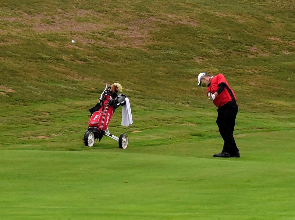 Fairfield's Mason Hamilton keeps his head down as he look to hit the green in regulation at the 2018 Southwest District Golf Tournament in Beavercreek, Ohio, October 11, 2018.