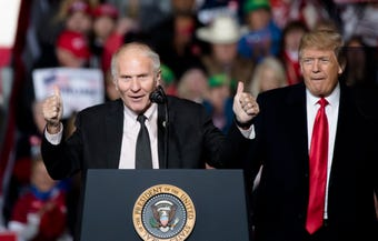 Steve Chabot speaks at President Trump's MAGA rally in Lebanon.