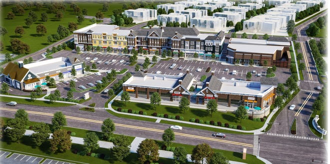 An architectural rendering of the proposed Village Walk development on Route 206 in Montgomery