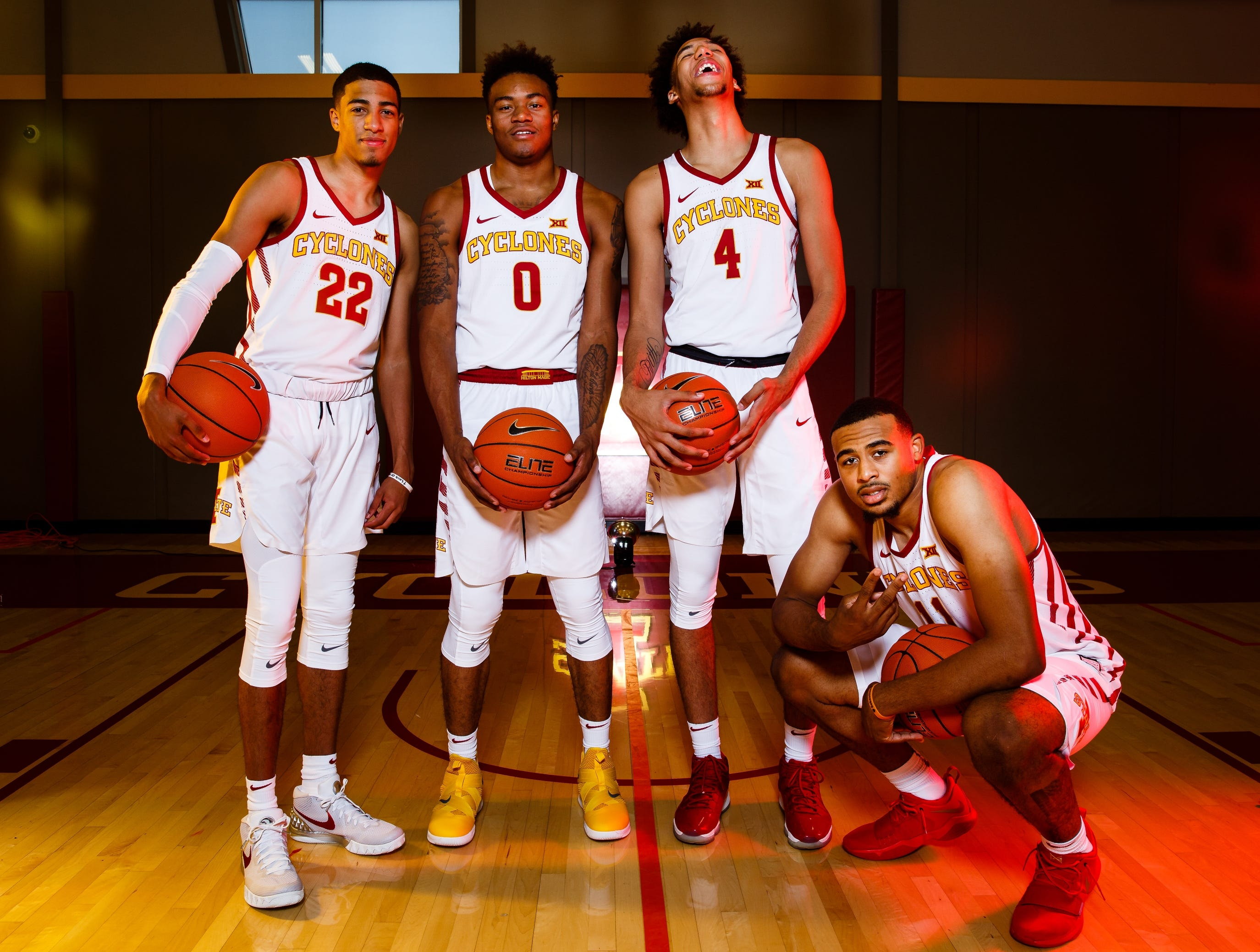 Iowa State's corps of freshman from left, Tyrese Haliburton, Zion Griffin, George Conditt IV, and Talen Horton-Tucker pose for a photo during media day on Thursday, Oct. 11, 2018, in Ames.