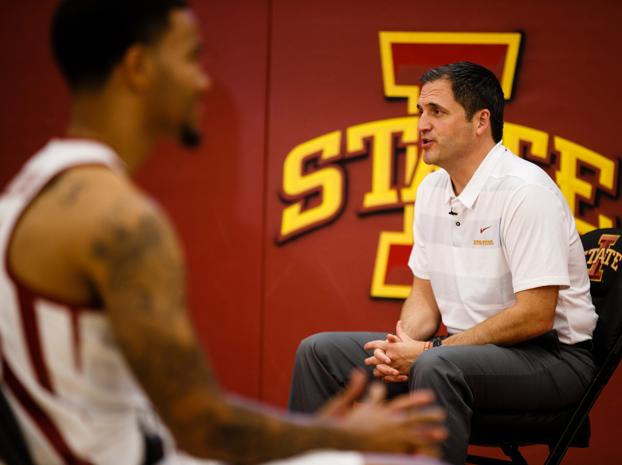 Iowa State mens basketball coach Steve Prohm talks to members of the press during media day on Thursday, Oct. 11, 2018, in Ames.