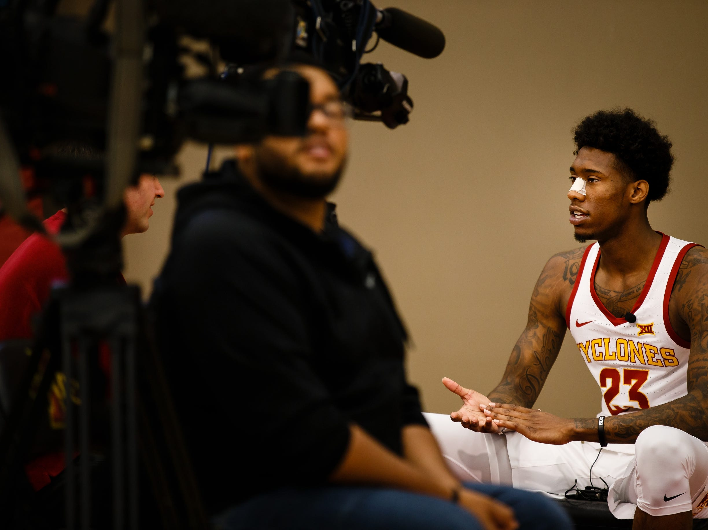 Iowa State's Zoran Talley Jr. talks to members of the press during media day on Thursday, Oct. 11, 2018, in Ames.