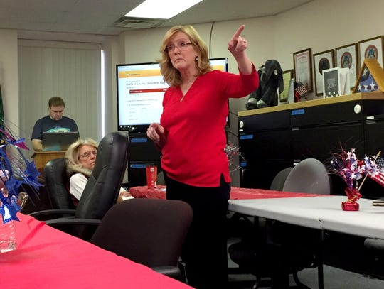 Theresa Mungioli, chairwoman of the Oakland County Republican Party, at the party's headquarters in Bloomfield Township in December 2016.