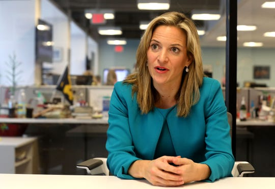 Jocelyn Benson, the Democratic candidate for Secretary of State, talks with the Detroit Free Press editorial board at the Free Press on Friday, October 5, 2018.