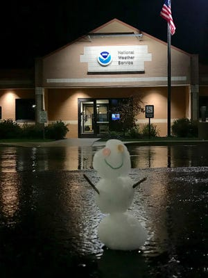A small snowman built outside the National Weather Service office in Gaylord.