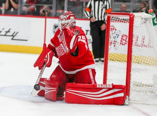 Detroit Red Wings goalie Jimmy Howard makes a save against the Toronto Maple Leafs during second period action Thursday, October 11, 2018 at Little Caesars Arena in Detroit, Mich.