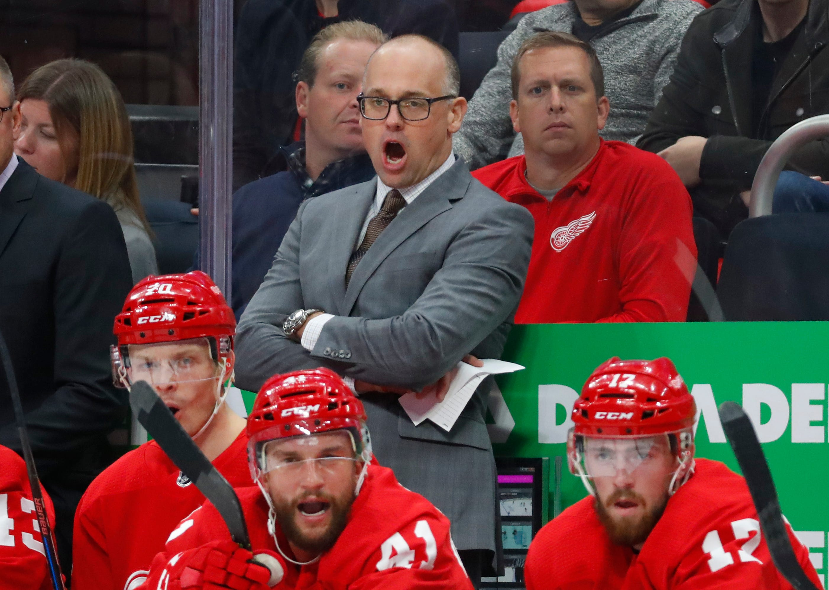 Red Wings coach Jeff Blashill watches the first period against the Maple Leafs, Oct. 11, 2018, at Little Caesars Arena.