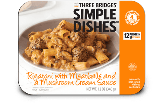 Three Bridges Simple Dishes rigatoni with meatballs and a mushroom cream sauce is being recalled.