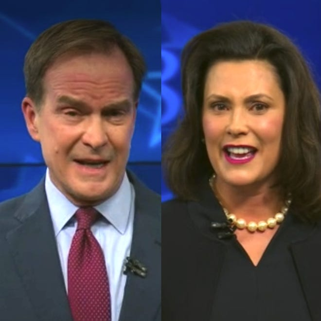 Republican Bill Schuette and Democrat Gretchen Whitmer sparred from the onset Friday of their first televised debate