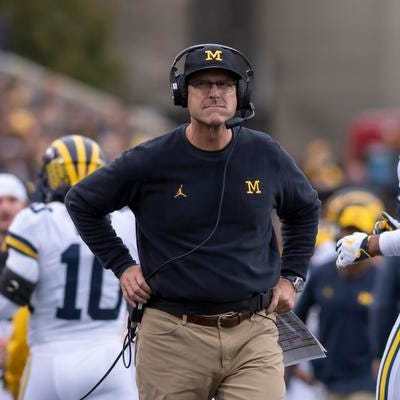Jim Harbaugh turns down volume in run-up to Michigan-MSU game