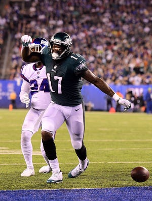 Alshon Jeffery of the Philadelphia Eagles celebrates after a run against the New York Giants during the third quarter.