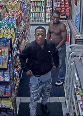 Two men are wanted in connection with a larceny reported Monday night at a Project Green Light gas station in the 19000 block of Plymouth.