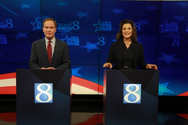 Bill Schuette and Gretchen Whitmer during the gubernatorial debate at Wood TV in Grand Rapids, Mich. on Oct 12, 2018.