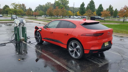 The Jaguar I-Pace charges on a 240-volt charger .