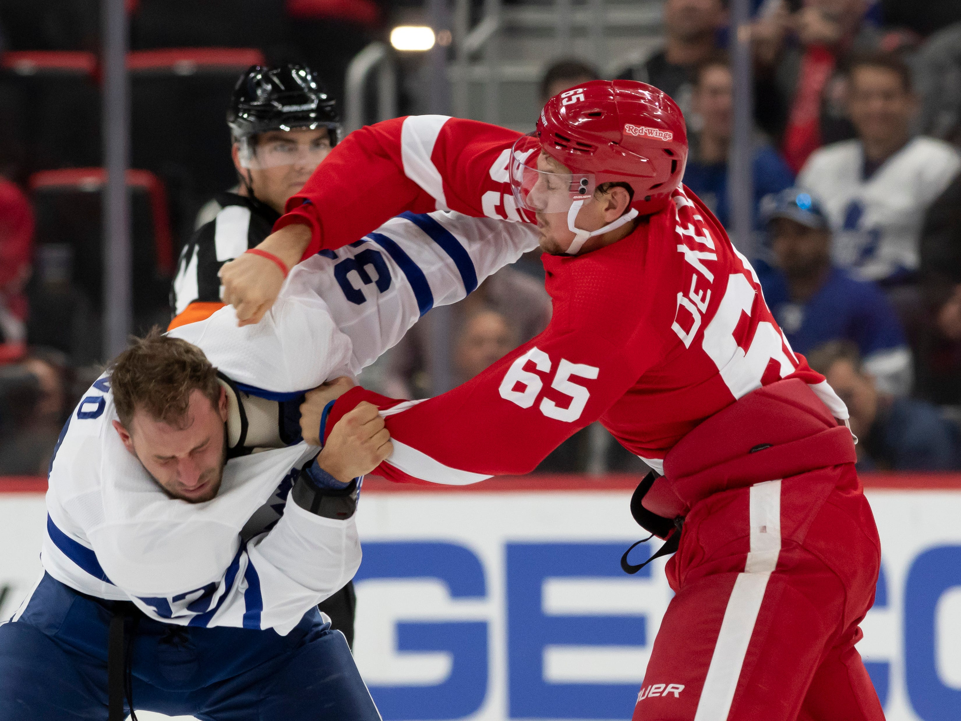 Detroit defenseman Danny DeKeyser and Toronto left wing Josh Leivo duke it out during a first period fight.