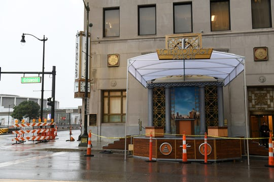Some temporary signage and staging at the new home of the Church of Scientology at Griswold and Jefferson Avenue in Detroit on Oct 12, 2018.