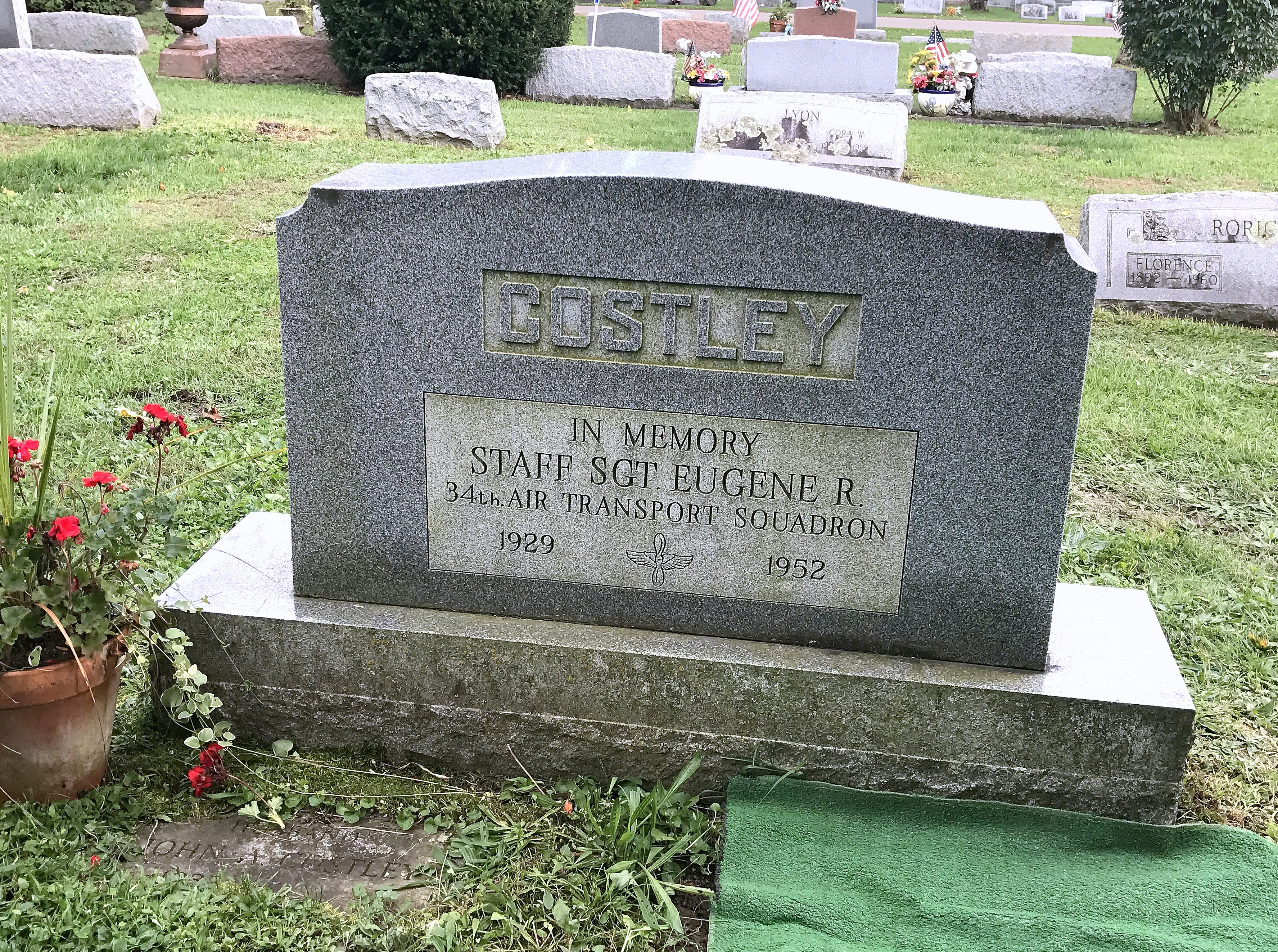 Elmira native Eugene Costley, who died in a military plane crash in 1952, is buried near several family members in Maple Grove Cemetery in Horseheads.
