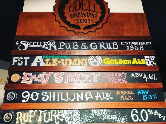 Part of the menu board at the Ramskeller Pub at Colorado State University.