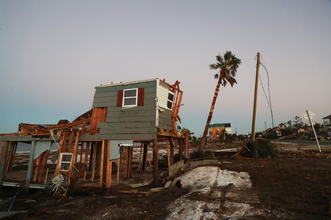 A destroyed home in Beacon Hill, Fl on Friday morning, two days after Hurricane Michael came ashore.