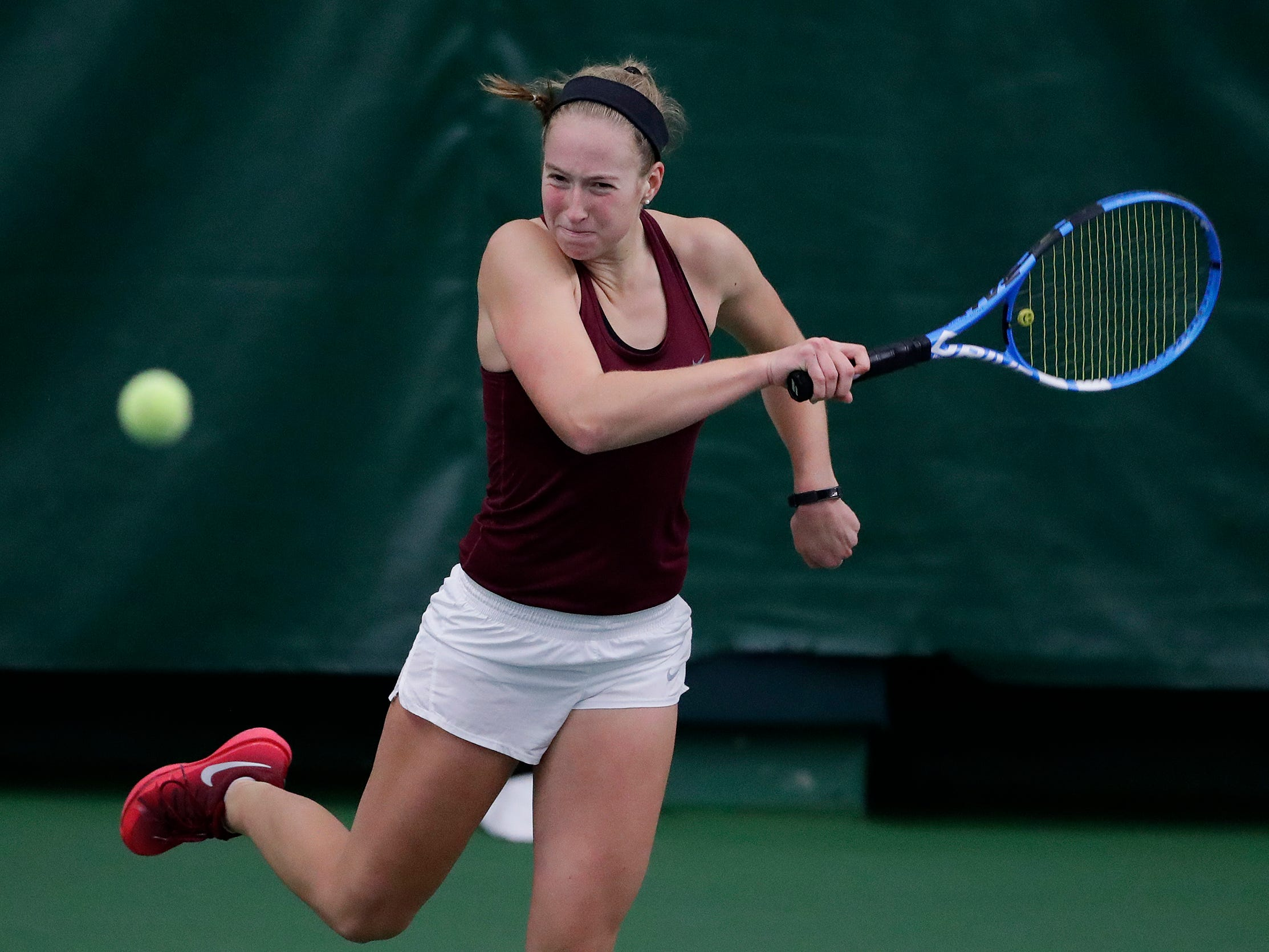 Fond du Lac's Kellie Hierl plays in a Division 1 singles match at WIAA 2018 Girls State Tennis Tournament at Nielsen Tennis Stadium on Friday, October 12, 2018 in Madison, Wis.