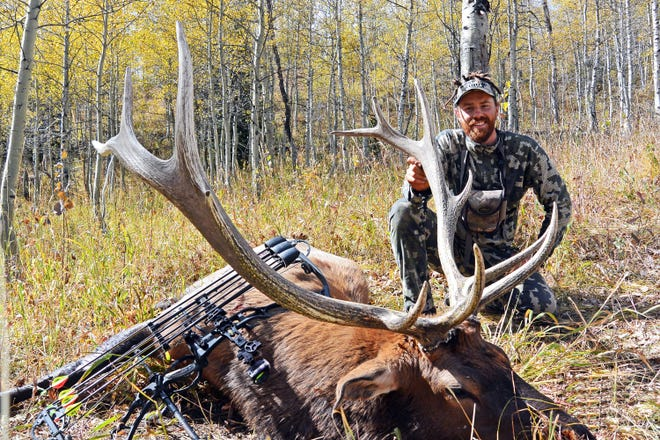 Dave Burgess, New Jersey, arrowed this bull elk in Idaho 10 days after bumping into Patrick Durkin while they were bowhunting along a remote mountaintop meadow.