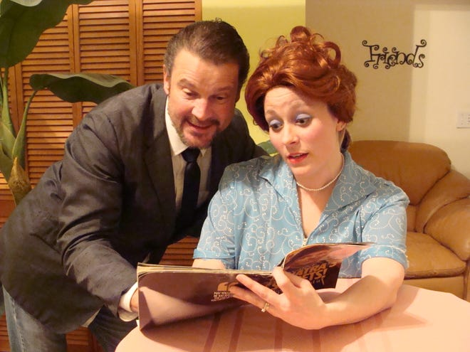 """Stuart Champeau and Jamie Buesing as Ricky and Lucy in a scene from the Rogue Theater production of """"Trouble at the Tropicabana,"""" which is scheduled for three dinner shows and one show-only performance between Oct. 24 and Oct. 30."""