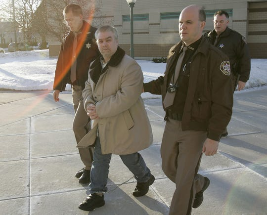Steven Avery is escorted from the Manitowoc County Jail to the Manitowoc County Courthouse on Feb. 5, 2007, in Manitowoc as jury selection began. Avery and his nephew, Branden Dassey, were convicted of killing Teresa Halbach.