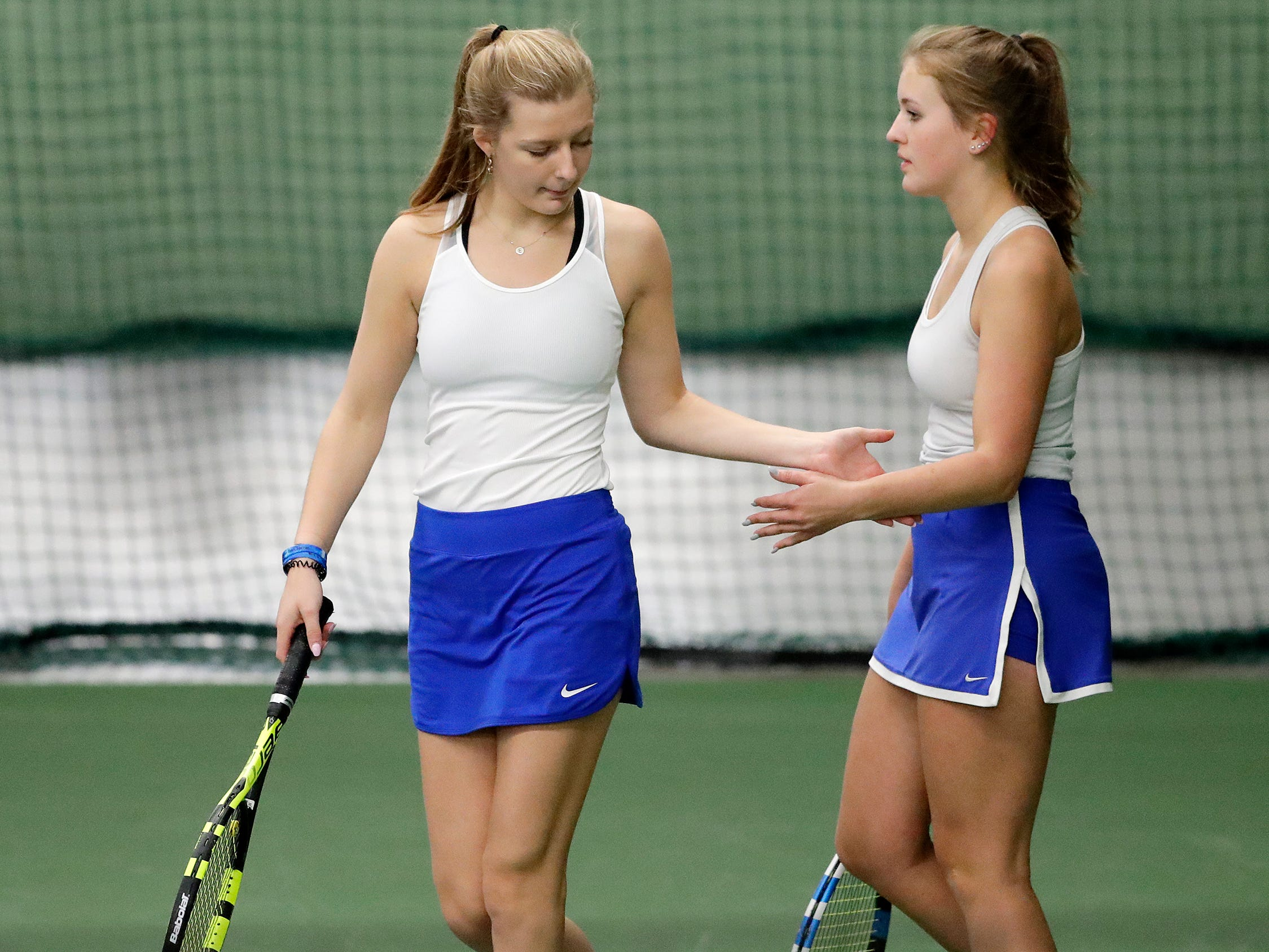 Kohler's Elly Udovich and Ava Hoffmann take the court for a Division 2 doubles match at WIAA 2018 Girls State Tennis Tournament at Nielsen Tennis Stadium on Friday, October 12, 2018 in Madison, Wis.