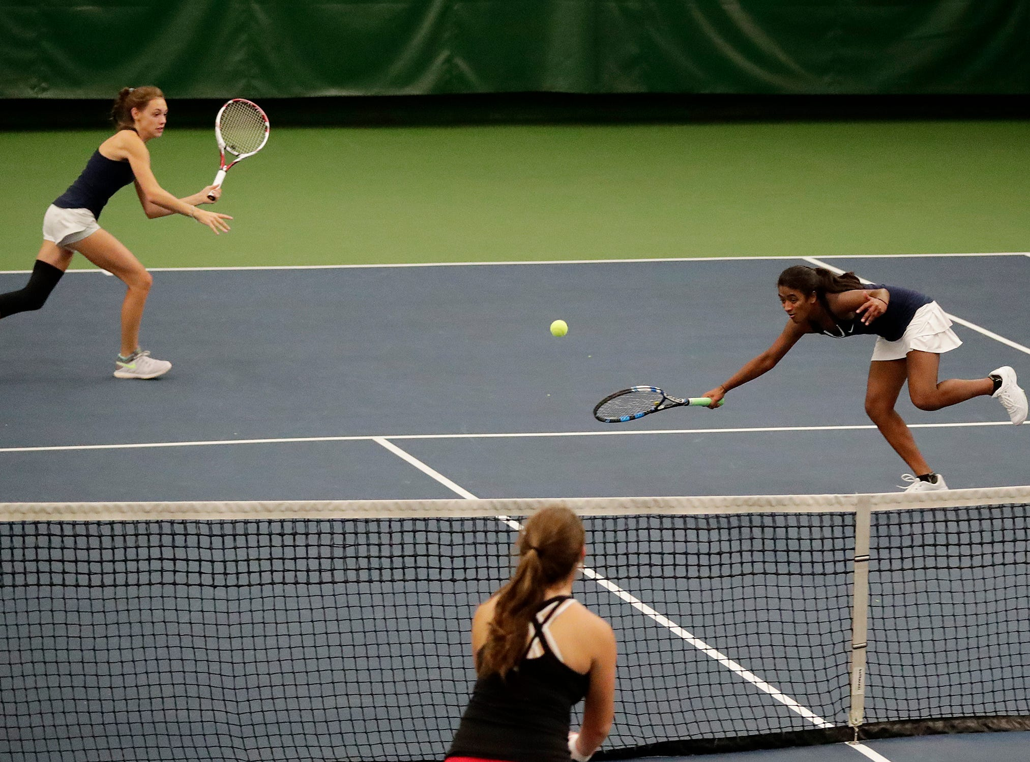 Sheboygan North's Sommer Schoenenberger and Ashwini Murthy play in a Division 1 doubles match at WIAA 2018 Girls State Tennis Tournament at Nielsen Tennis Stadium on Friday, October 12, 2018 in Madison, Wis.