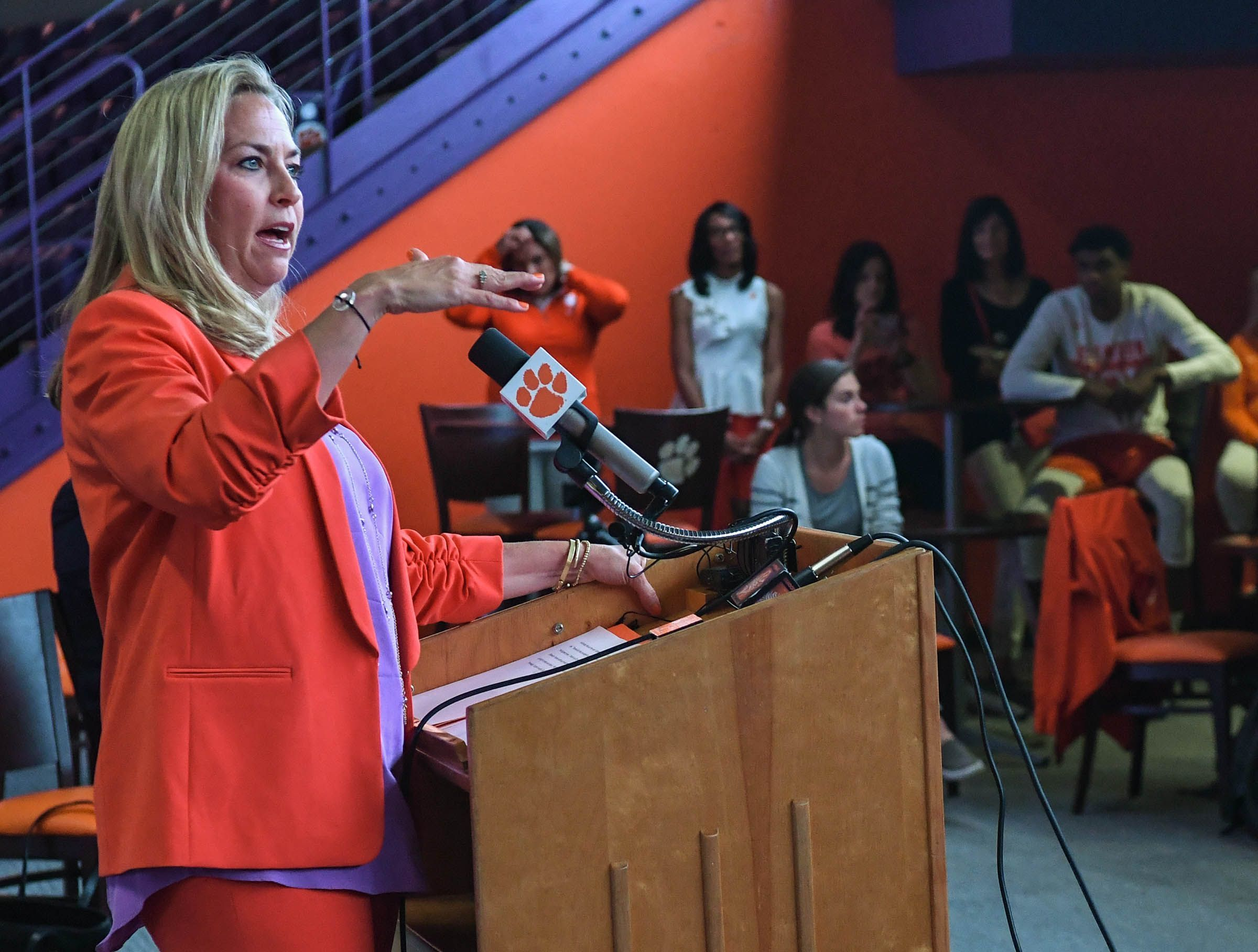 Women's basketball coach Amanda Butler, shown at her introductory news conference, is eager to begin the rebuilding project at Clemson.