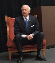 Gov. Henry McMaster takes part in a candidate forum Friday in Spartanburg. His opponent, Democratic state Rep. James Smith, also participated in the event hosted by the South Carolina Economic Developers' Association.