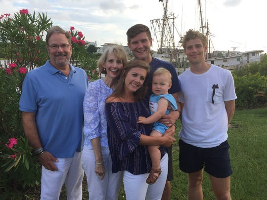 David and Teresa Gray with daughter Ashley Godwin and son-in-law Alan Godwin, grandson Holden Godwin, and son Clark Gray at Holden Beach, NC.