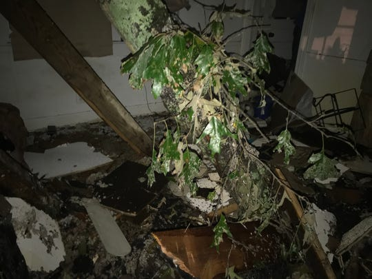 A tree came through a home on Orlando Avenue in Greenville County Thursday during Tropical Storm Michael.