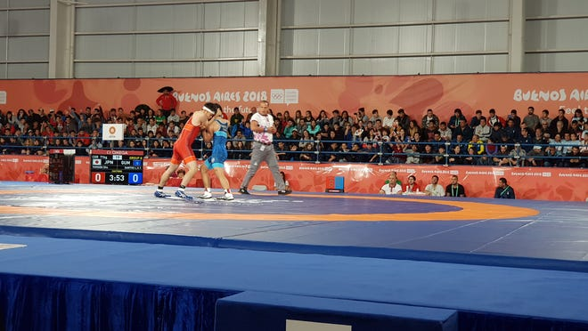 Guam's Lynch Santos competes in men's Greco-Roman wrestling at the Buenos Aires Youth Olympic Games on Oct. 12, 2018.