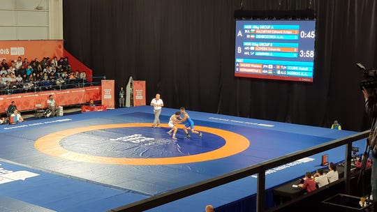 Marshall Islands wrestler Alexander Adiniwin competes in Greco-Roman wrestling at the Buenos Aires Youth Olympics Games on Oct. 12.