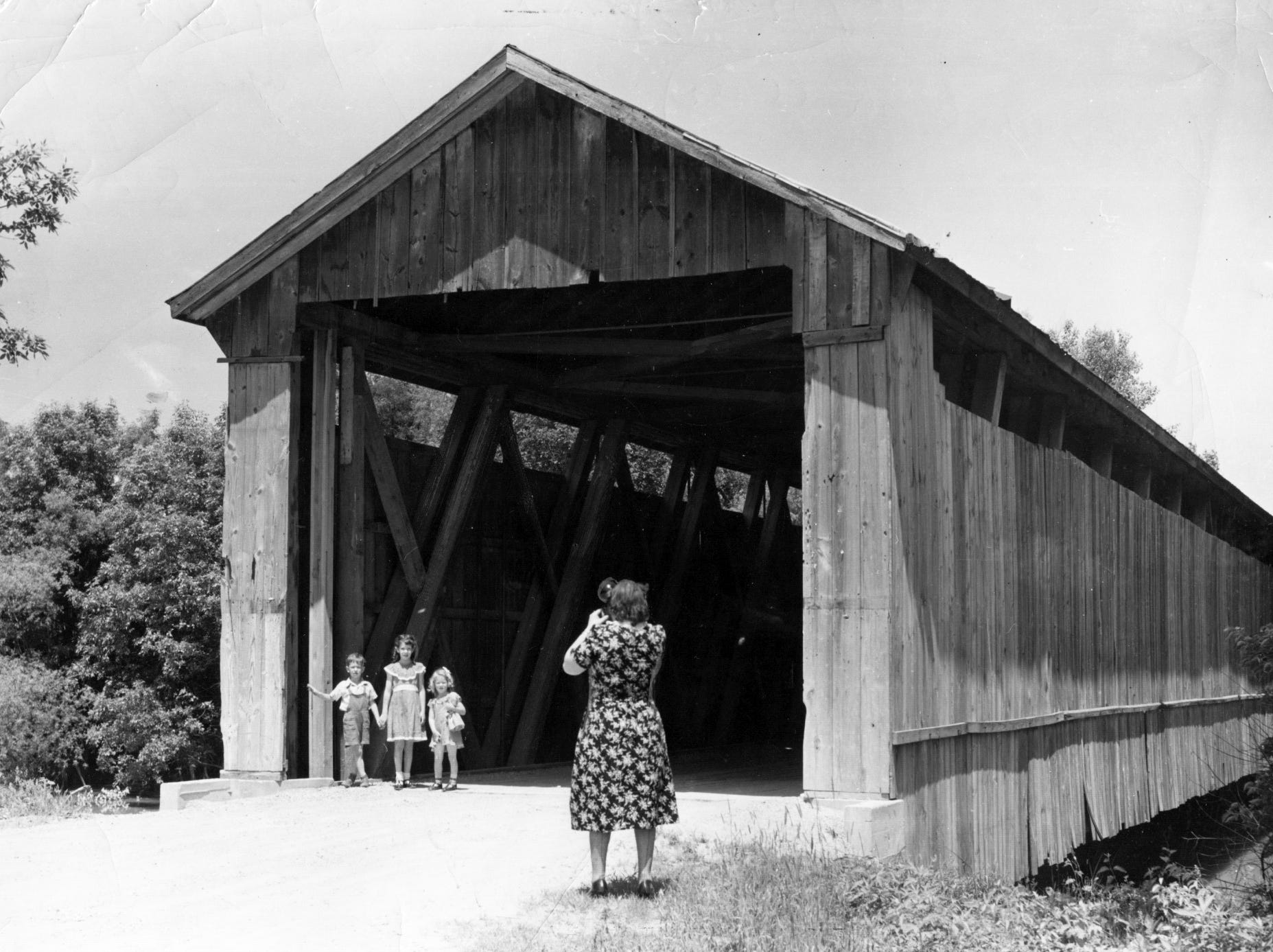 Covered bridge over the Wabash River near Berne, Indiana in 1956.