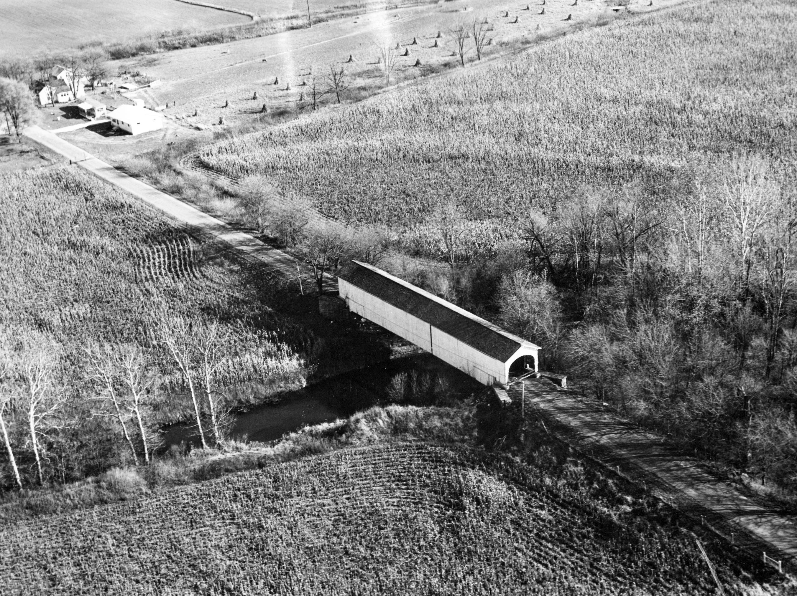 Shelby County covered bridge spanning Lewis Creek shown in 1967.