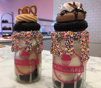 Cupcake ice cream sandwiches come in a jar at Smallcakes, a new dessert bar at 930 Broad Ripple Ave., Indianapolis.