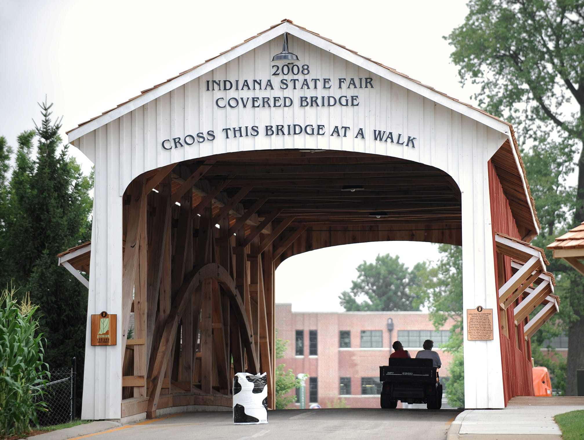 The  Indiana State Fair covered bridge waits for fairgoers at the Indiana State Fairgrounds on Thursday, July 31, 2008
