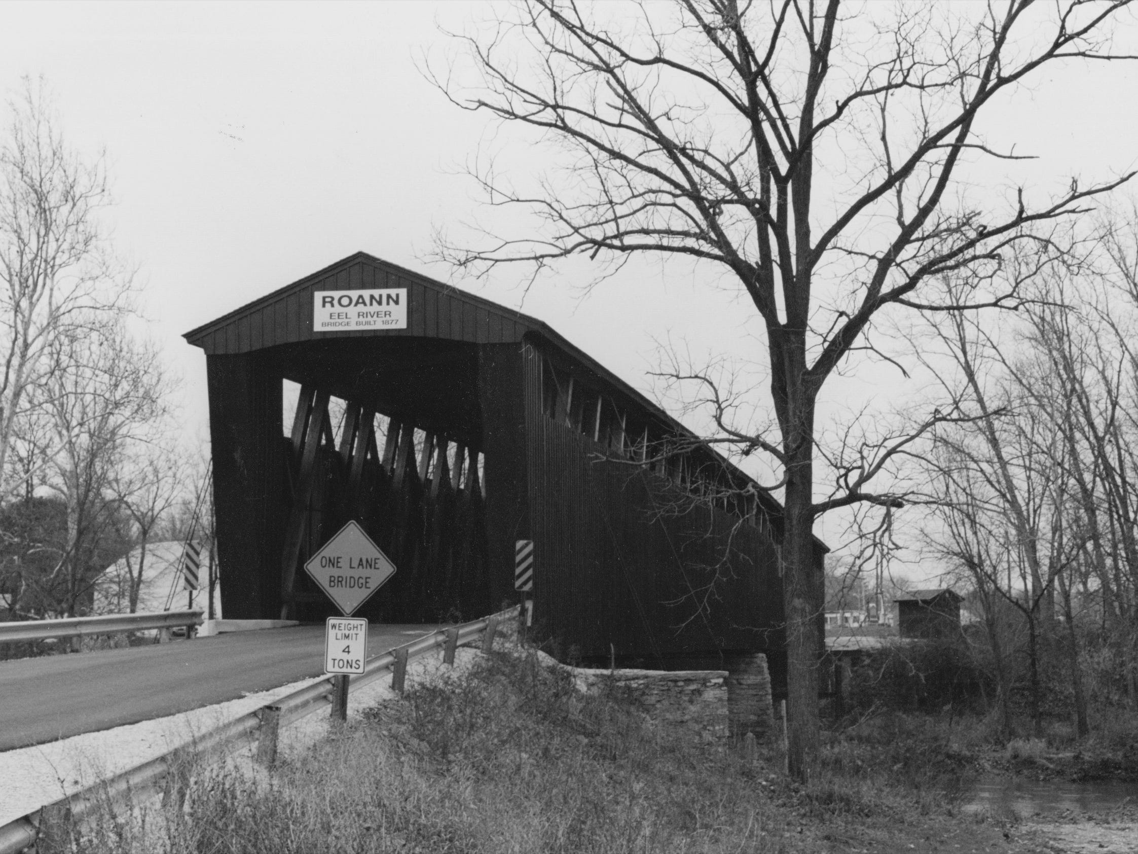 The covered bridge over the Eel River in Roann in Wabash County in 1993. This is the state's only covered bridge with a sprinkler system. The 1877 structure was rebuilt after an arson fire nearly destroyed it.