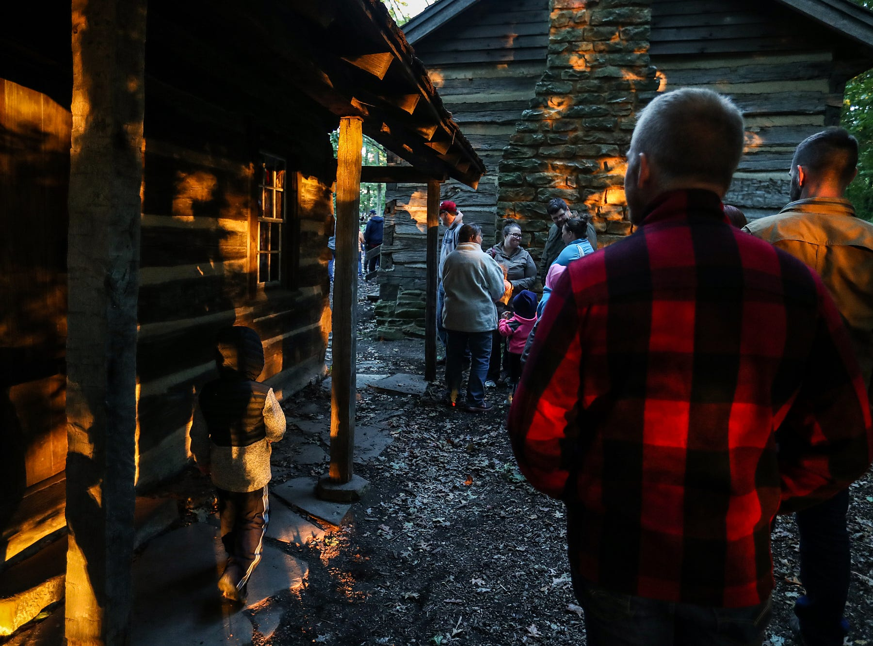 Guests wait in line for the haunted hayride attraction on opening night of the annual Headless Horseman Halloween festival at Conner Prairie in Fishers, Ind., Thursday, Oct. 11, 2018. The festival is held from 6 to 9 p.m. every Thursday through Sunday, ending Oct. 28, 2018.