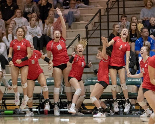 Fishers High School celebrates defeating rival Hamilton Southeastern High School in three straight sets in the first round of the volleyball sectional at Westfield High School, Westfield, Thursday, Oct. 11, 2018. The win matches them up with Westfield High School for a game on Saturday morning at 11a.m.