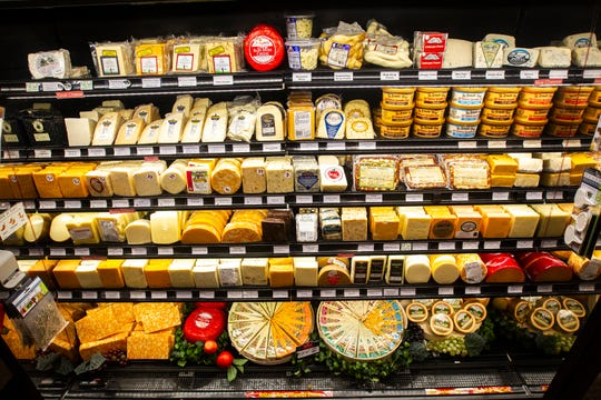 Cheese varieties are displayed in a case on Friday, Oct. 12, 2018, at Kalona Creamery off of Highway 1 in Kalona, Iowa.