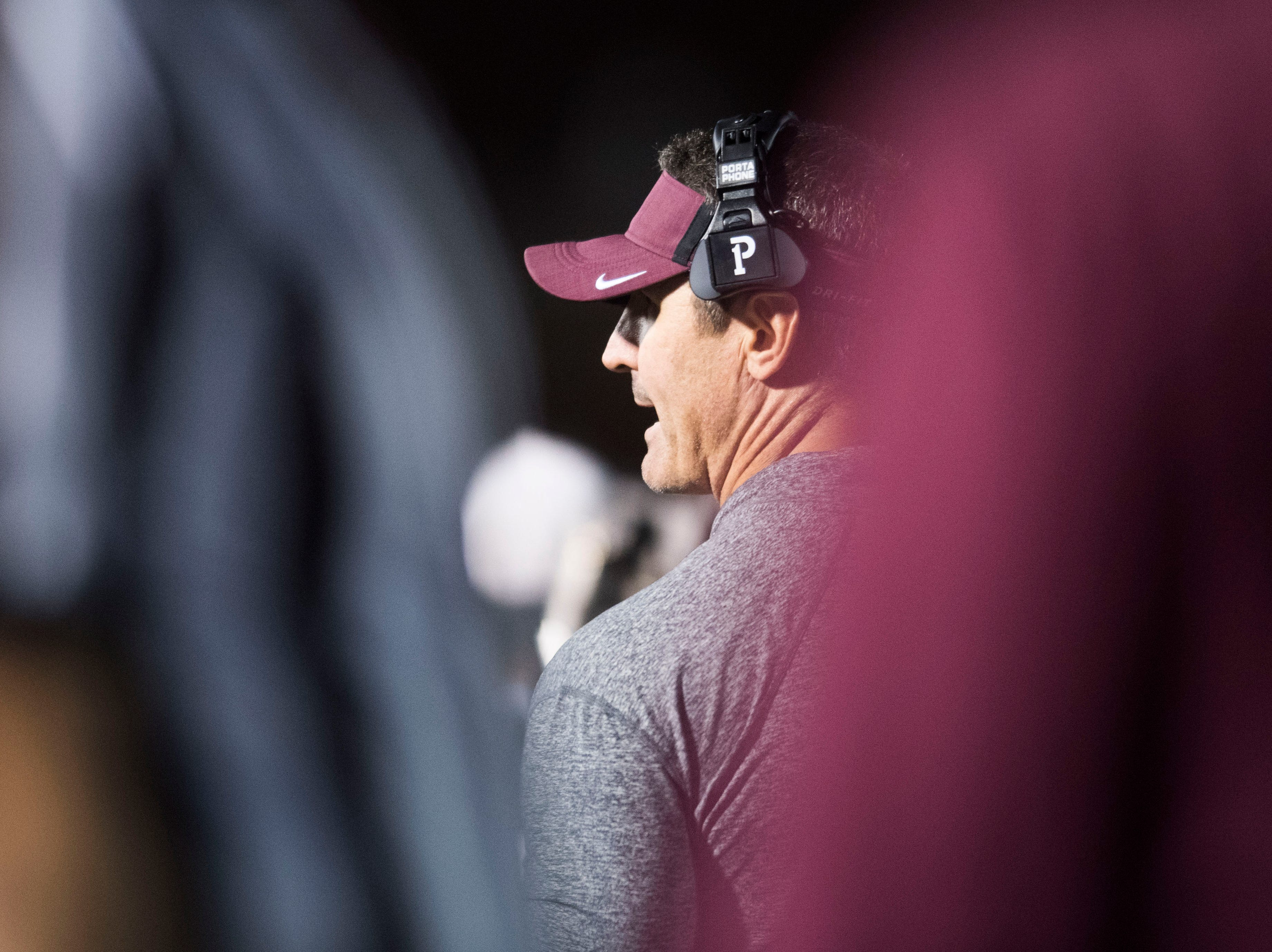 Bearden's head coach Morgan Shinlever stands on the sidelines during a game between Bearden and Farragut at Bearden Thursday, Oct. 11, 2018. Bearden took down Farragut 17-13.