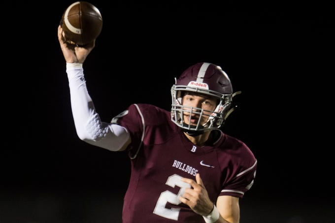 Bearden's Collin Ironside (2) throws the ball during a game between Bearden and Farragut at Bearden Thursday, Oct. 11, 2018. Bearden took down Farragut 17-13.