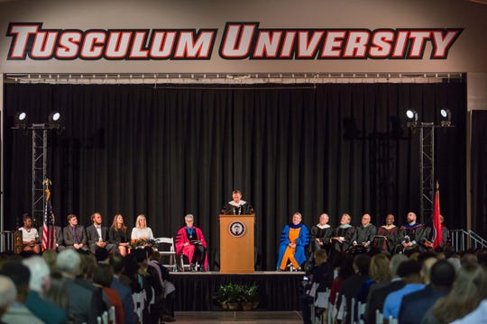Dr. James Hurley, president of Tusculum University, makes his inaugural address on Friday, Oct. 12, 2018.