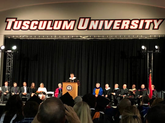 Tusculum University's 28th president, James Hurley, addresses the crowd at his inauguration ceremony on Friday.
