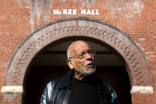 Bob Booker speaks in front of McKee Hall on Knoxville College's campus on Friday, October 12, 2018.