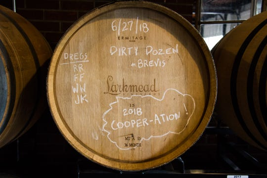 A barrel of sour beer is displayed at Abridged Beer Co. on Oct. 10, 2018.